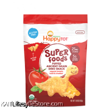 HAPPYBABY Superfood Puffed Ancient Grain Dino Snack Organic Tomato, Basil & Cheddar (42g)