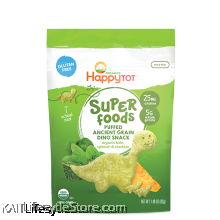 HAPPYBABY Superfoods Puffed Ancient Grain Dino Snack Organic Kale, Spinach & Cheddar (42g)