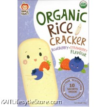APPLE MONKEY Organic Rice Cracker - Blueberry Strawberry (30g)