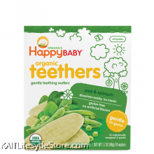HAPPYBABY: Teething Wafer - Pea/Spinach (48g)