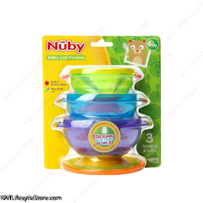 NUBY Stackable Suction Bowl (3 Pcs) [6m+]