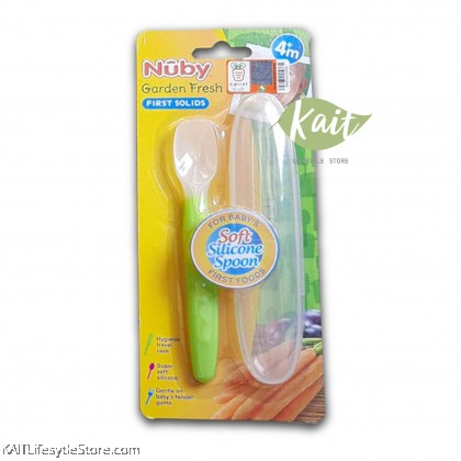 NUBY Garden Fresh Silicone Spoon with Hygienic Case (1 Pc) [6m+]