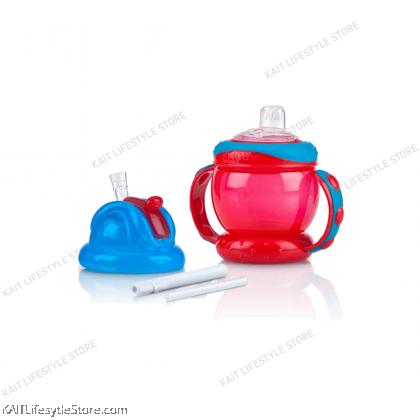NUBY Flip N Sip Combo Cup - Spout & Fat Straw 240ml [4m+]