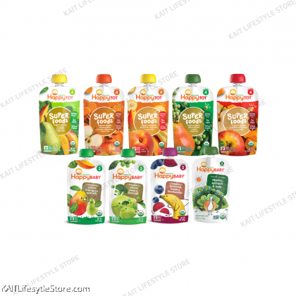 HAPPY BABY Stage 2 & 4 Fruits & Veggies Pouches (99~120g)