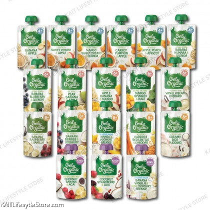 ONLY ORGANIC Fruit & Vege Pouches 120g