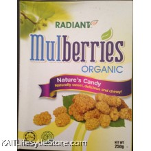 RADIANT Dried Mulberries, Organic (250gm)