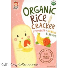 APPLE MONKEY Organic Rice Cracker - Strawberry Banana (30g)